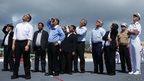US Secretary of Defense Hagel watches a demonstration