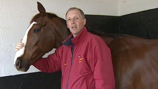 David Pipe with The Package, one of his runners at the 2014 Grand National