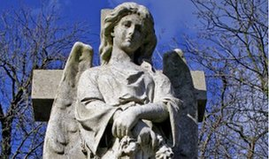Victorian angel on grave
