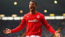 Frasier Campbell celebrates Cardiff's injury time equaliser at West Brom