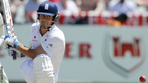 England's Alistair Cook plays a shot in during Ashes.