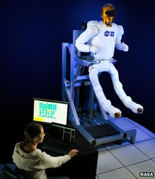 Robonaut  being fitted with legs at a lab in Houston
