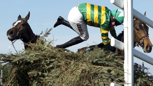 Richie McLernon gets thrown from Sunnyhillboy at the last fence during the 2013 Grand National