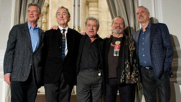Monty Python members Michael Palin, Eric Idle, Terry Jones, Terry Gilliam and John Cleese