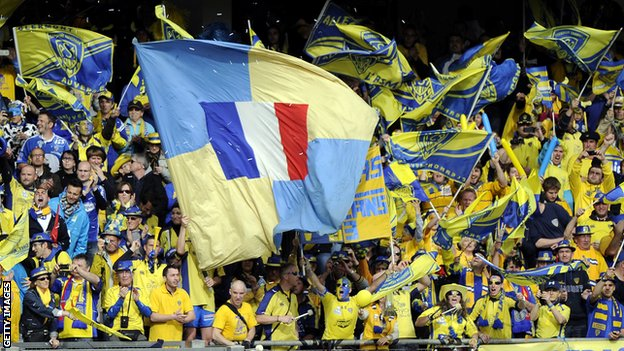 Clermont fans pictured during the 2013 Heineken Cup