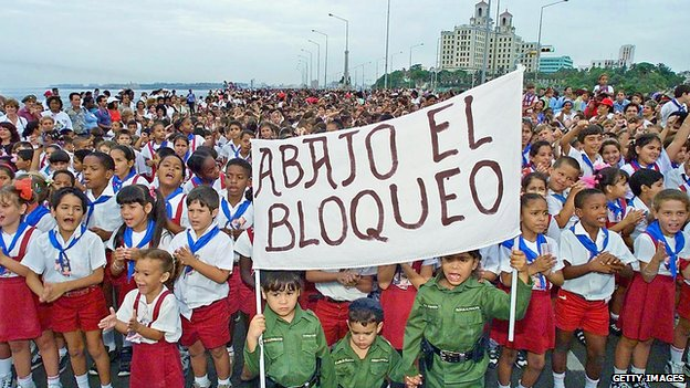 Children hold a banner 'Down with the blockade' in Havana in 2000