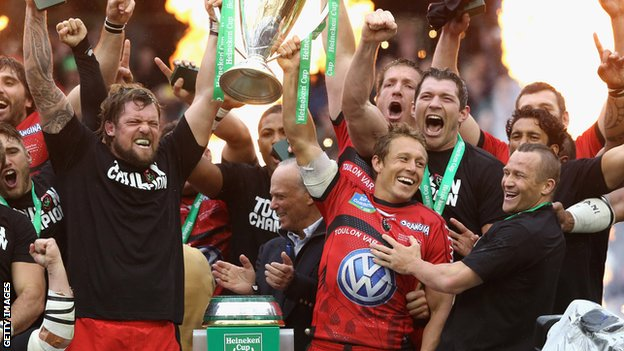 Jonny Wilkinson (second from right in front row lifting trophy) and his team-mates lift the Heineken Cup last year