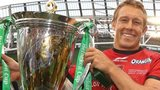 Jonny Wilkinson of Toulon holds the Heinken Cup after their victory in last year's competition