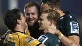 Northampton Saints celebrate a Ben Foden try against Sale Sharks