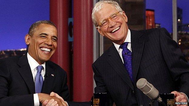 David Letterman with US President Barack Obama. Sept 2012