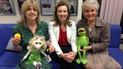 Rachel Johnson, Miranda Green, Angela Rippon, with Missy Piggy and Kermit muppets