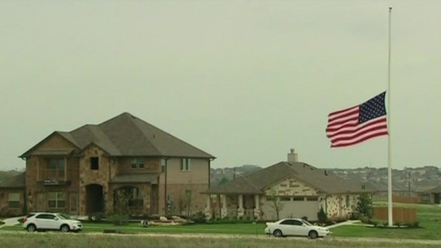 US flag flying at half-mast