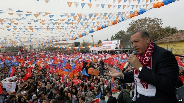 Mr Erdogan addresses a rally of his party in Elazig on 6 March