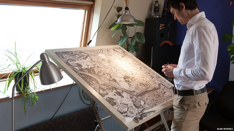 Gareth Wood at drawing board
