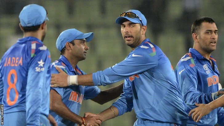 Yuvraj Singh is congratulated
