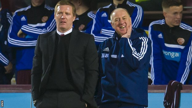 Hearts manager Gary Locke and assistant manager Billy Brown