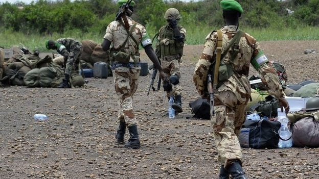 Chadian soldiers gather at a military air base before leaving Bangui, Central African Republic, on 4 April  2014