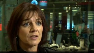 Lucy Adams talks to the BBC as union members walk out over compulsory redundancies in March 2013