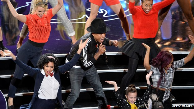Pharrell performing live at the oscars