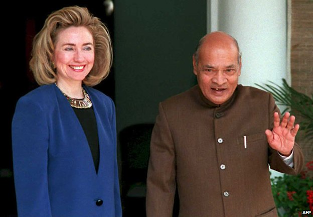 Hillary Clinton and Narasimha Rao pictured in 1995