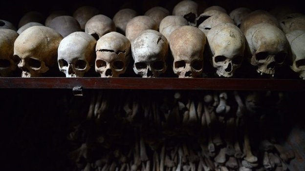 skulls on display in the Nyamata church