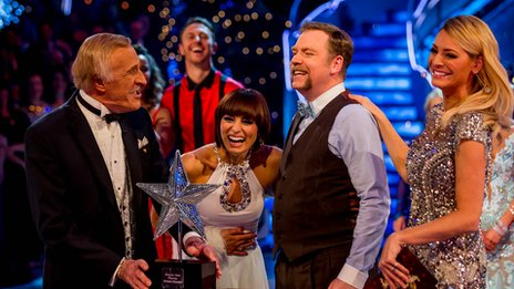 Brucie and Tess Daly hand Christmas award to Flavia Cacace and Rufus Hound
