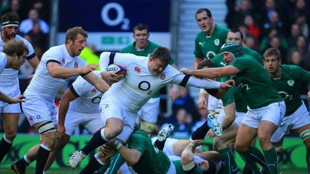 Rugby match between England and Ireland