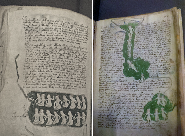 Pages from the Voynich Manuscript showing naked women bathing