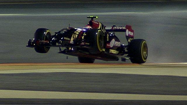 Bahrain Grand Prix: Lotus' Pastor Maldonado pulls a wheelie