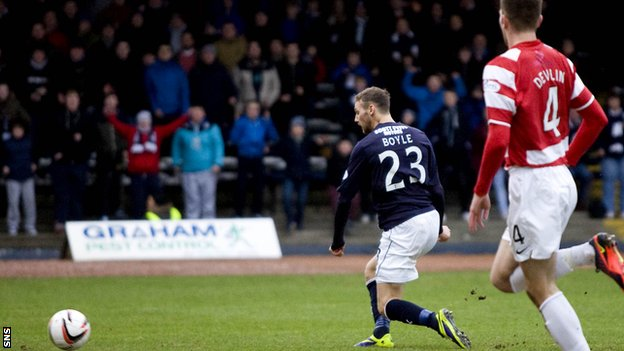 Martin Boyle scores for Dundee against Hamilton