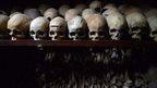 skulls on display in the Nyamata church