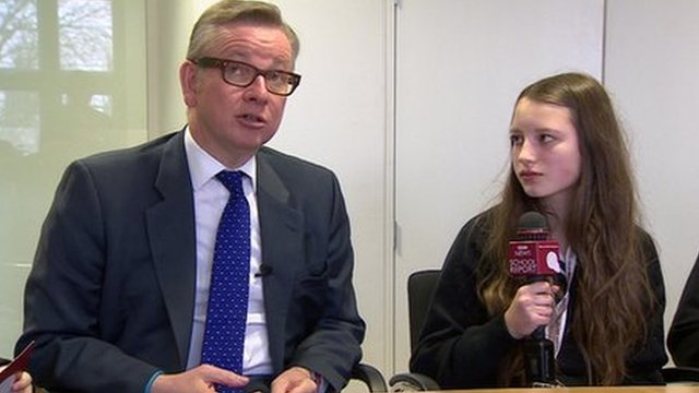 Michael Gove with School Reporters at the Department for Education