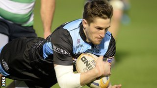 Henry Pyrgos scores a try for Glasgow Warriors against Treviso