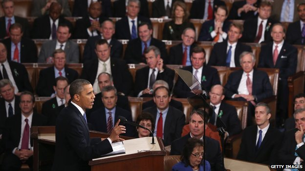President Barack Obama delivers his 2013 State of the Union address before Congress.