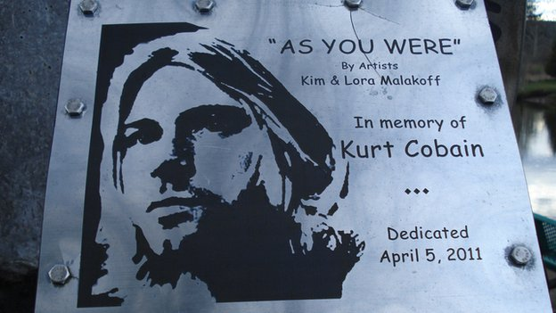 Kurt Cobain plaque at the Cobain Landing in Aberdeen, Washington