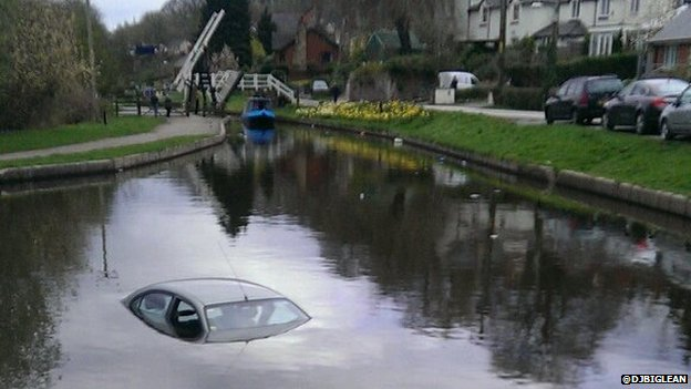 Car in Llangollen Canal
