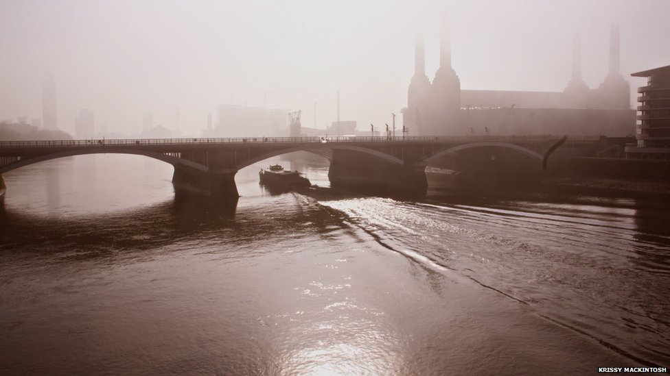 smog filled Battersea Bridge and Power Station