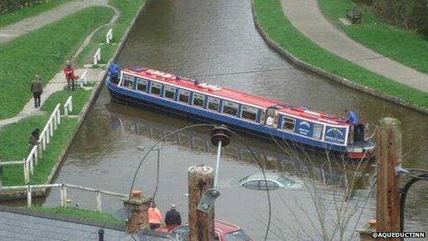 Car in Llangollen Canal