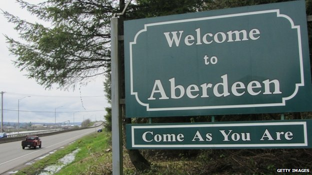 The welcome sign to Aberdeen, Washington