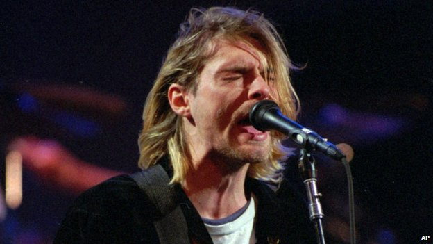 Kurt Cobain playing with Nirvana in December 1993