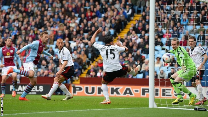 Grant Holt (left) scores for Aston Villa