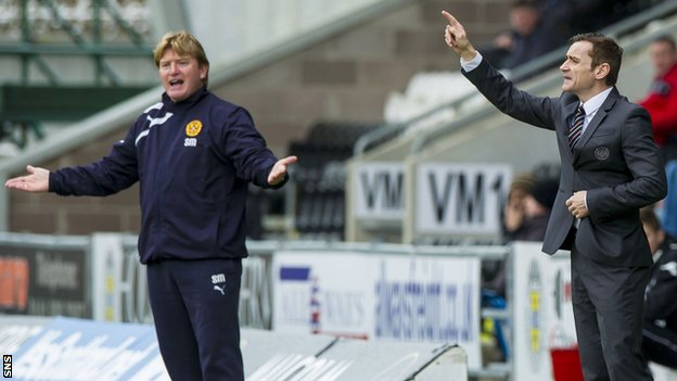 Stuart McCall and St Mirren boss Danny Lennon