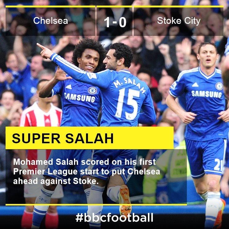 Mo Salah celebrates scoring against Stoke