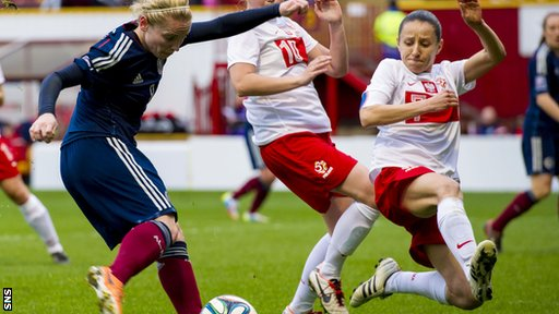 Kim Little (left) is closed down by Poland's Marta Mika