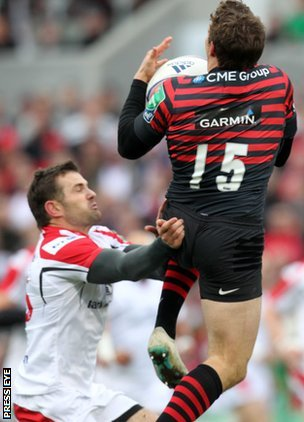 Jared Payne was sent-off for this challenge on Saracens full-back Alex Goode