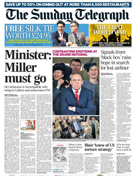 Sunday Telegraph front page - 06/04/14
