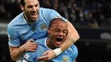 Vincent Kompany celebrates after scoring against Liverpool in December