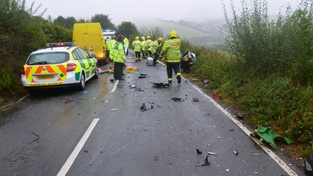 Bike crash scene in North Yorkshire