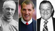 Bill Shankly (left), Brendan Rodgers (centre) and Bob Paisley