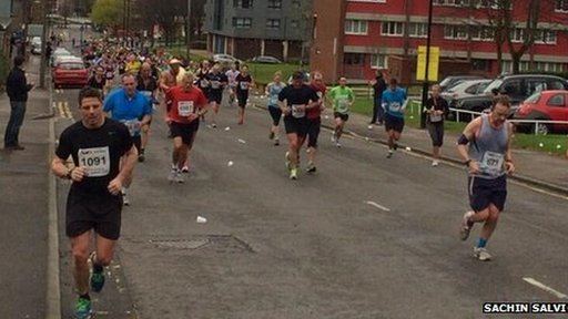 Runners during Sheffield half marathon